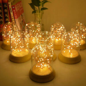 Details About Diy Led Fairy String Desk Table Wire Lamp Night Light Wood Base Bedroom For Gift