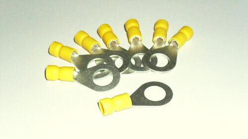 8x Ring Kabelschuh,gelb  Ø M10   f 4,0-6,0 mm² Kabel