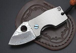 Damascus-Super-Small-Forged-Pocket-Folding-Knife-Titanium-Handle-EDC