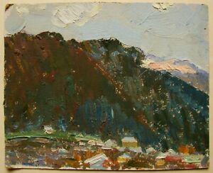Russian-Ukrainian-Soviet-Oil-Painting-impressionism-landscape-mountains-town