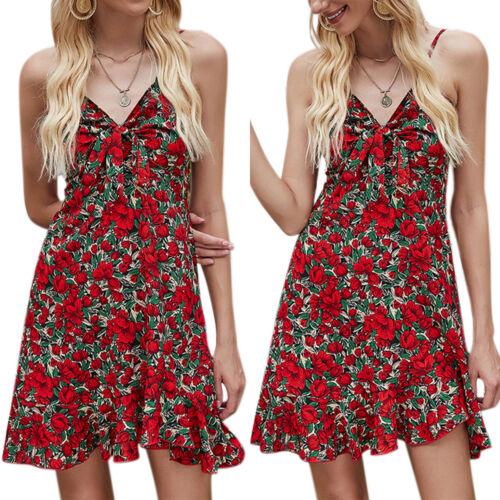 Womens Ladies Boho Floral Sleeveless Strappy Mini Tea Dress Summer Vest Sundress