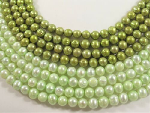 6-6.5 mm Potato Freshwater Pearl Beads Light Green OR Lime Green Color #649