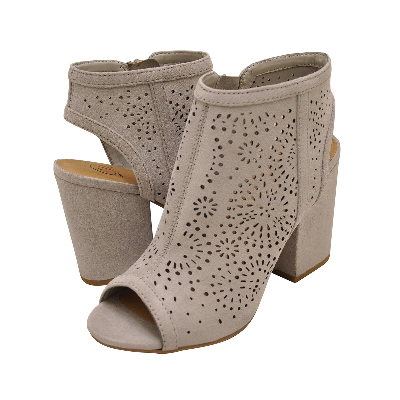 Women's shoes Delicious PARKING-S Perforated Chunky Heel Sandal Booties LT GREY