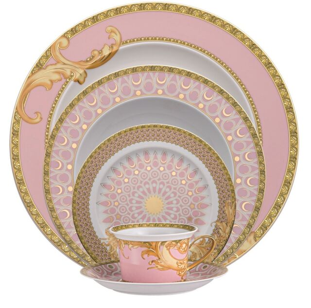 VERSACE MEDUSA BYZANTINE DREAMS DINNER PLACE SETTING OF 5. PLATE CUP NEW IN BOX