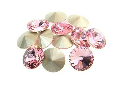Swarovski Foiled Rivoli Stones Art.1122 12mm Light Rose 12 Pieces cc