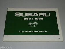 Betriebsanleitung Handbuch Subaru 1600 & 1800 (Modell 1983), Stand 08/1982