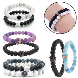 Couples Bracelets Lava Stone Beaded Bracelet Her and His Gifts for Boyfriend