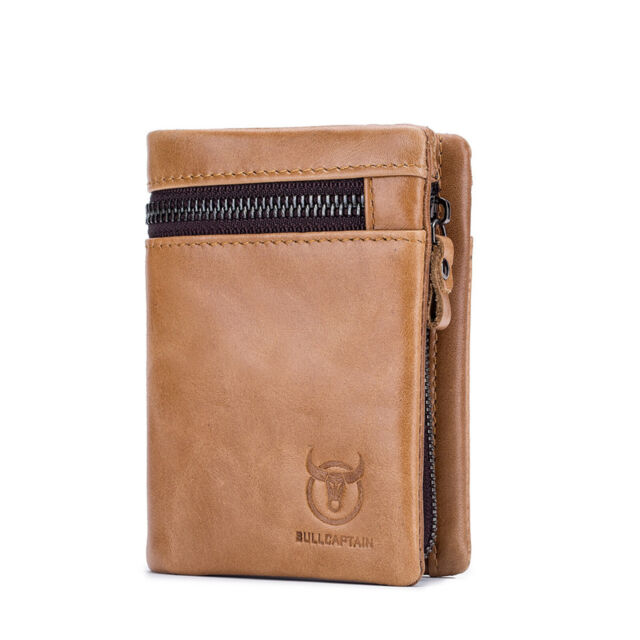 Fathers Day Vintage Double Zip Coin Bag RFID Short Leather Mens Wallet