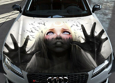 Decals Collection On EBay - Custom vinyl car hood decalsskull full color graphics adhesive vinyl sticker fit any car hood