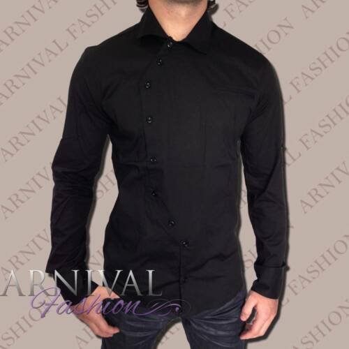 MENS CASUAL slim fit SHIRT MEN LONG SLEEVE TOPS cotton plain blank adults solid