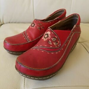 Spring-Step-L-039-Artiste-Women-Size-39-Burbank-Shoes-Clogs-Red-Embroidered-Leather