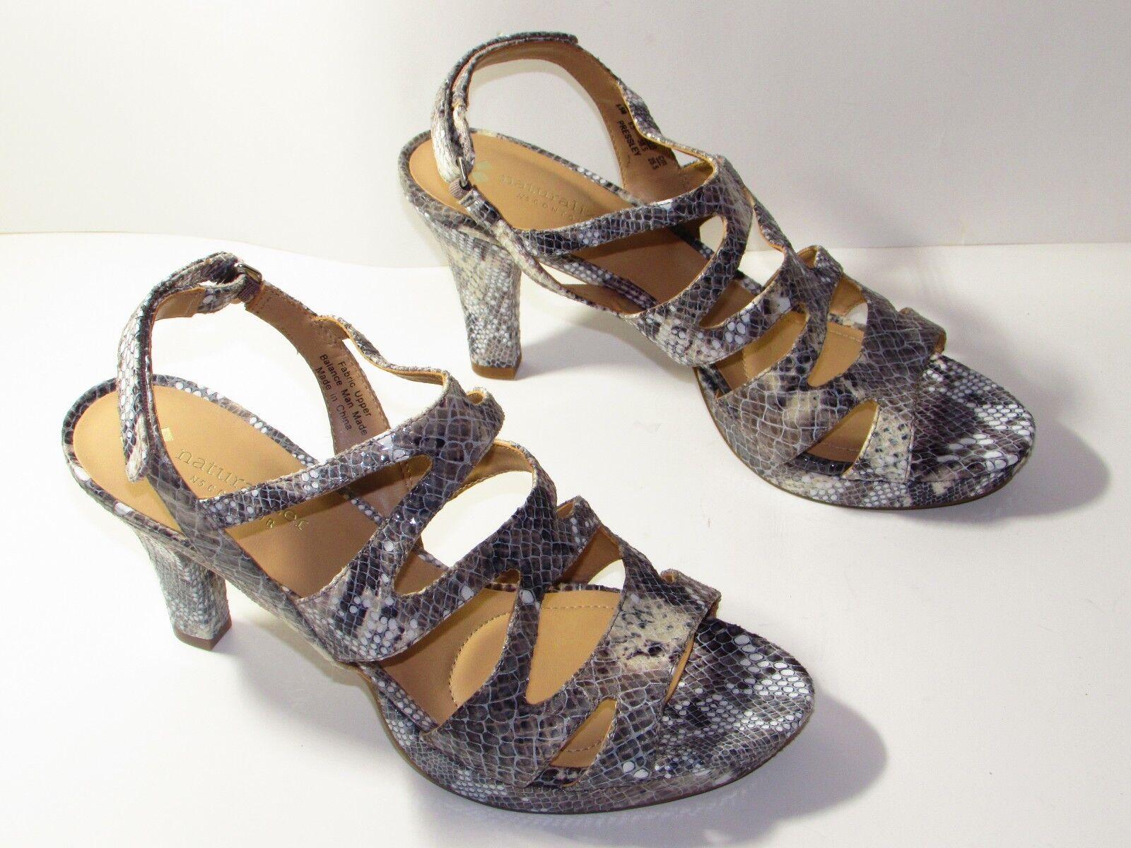 Naturalizer Women's Open Toe Heels in Grey Snake Size Us 8.5 M   Uk 6.5  Eu 38.5