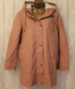 ASOS-PETITE-Premium-Quilted-Shearling-amp-Lining-Hooded-Rain-Coat-Pink-16-44-New