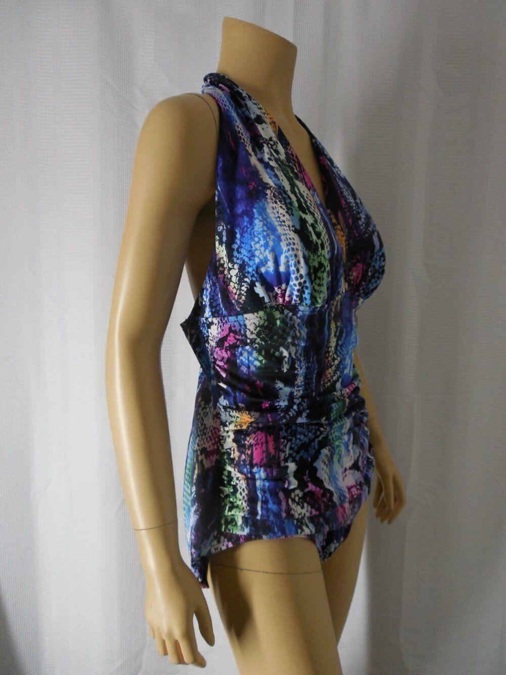 Dos-nu MAGICSUIT maillot de bain 16 Multi Farbe Serpent Imprimé Froncé Panneau Neuf avec étiquettes