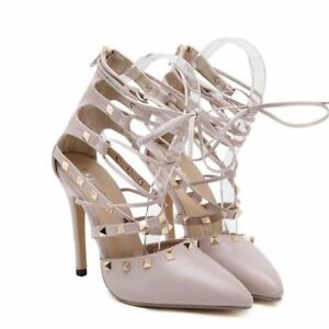 57fd1318292 Details about Lady Sexy Hollow Cross Lace Up Rivets Stiletto High Heels  Women Shoes Sandal New