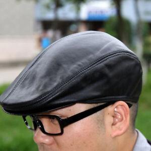 Mens-Leather-Newsboy-Baker-Boy-Hat-Gatsby-Ivy-Golf-Driving-Flat-Cabbie-Beret-Cap