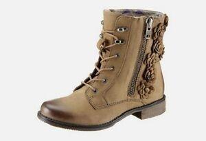 MARC-Stiefelette-Gr-41-taupe-braun-Leder-Boots-Schuhe-NEU
