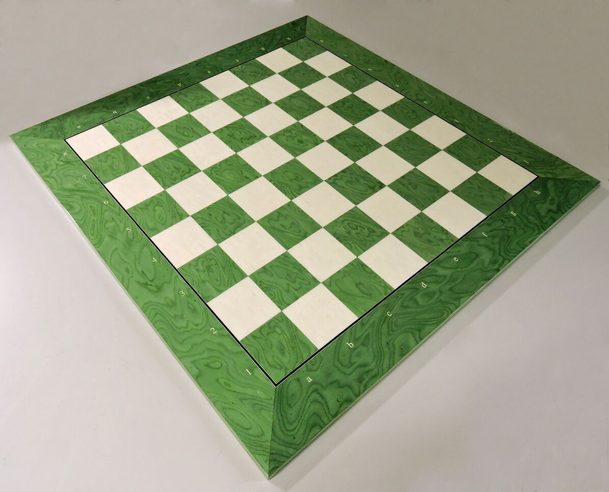 Extra Large Green And White Chess Board Only With Coordinates, Made In Spain