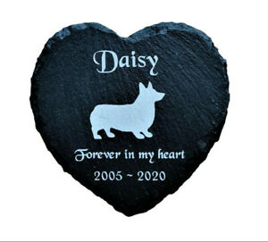 Personalised-Engraved-Slate-Heart-Pet-Memorial-Grave-Marker-Plaque-Corgi-Dog