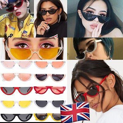 Small Size Half Frame Cat Eye 90s Sunglasses Rimless Fashion Vintage shades UK