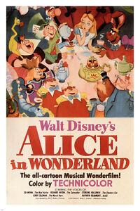 Walt-Disney-039-s-Alice-in-Wonderland-MOVIE-POSTER-1951-24X36-VINTAGE-CARTOON