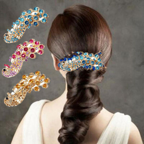 Retro Peacock Full Crystal Rhinestones Barrette Hair Clip Bridal Decoration