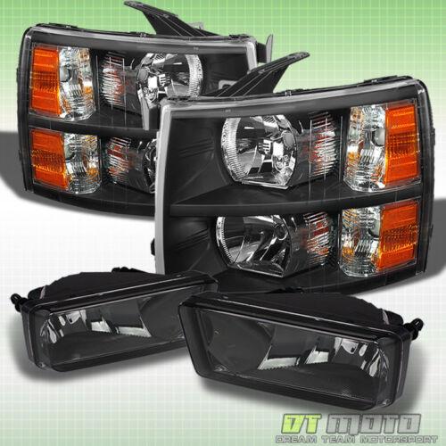 Smoked Fog Lamps Left+Right 07-13 2007-2013 Chevy Silverado Black Headlights