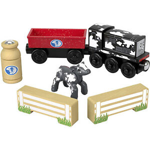 Thomas-And-Friends-Wood-Diesel-039-s-Dairy-Drop-Off-Train-Set-NEW