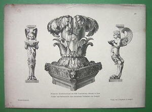 ITALY-Roman-Artefacts-Pompeii-Table-Legs-Candelabrum-1880s-Antique-Print