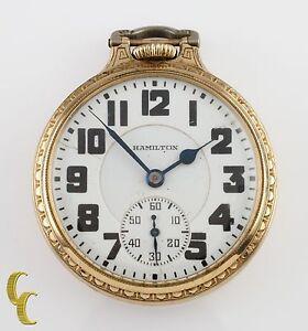 Hamilton Open Face Gold Filled Antique Pocket Watch Grade 992E Size 16 21 Jewel