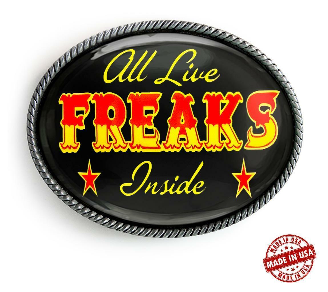 Freak Show Belt Buckle - Vintage Circus Carnival Art Handmade Artisan