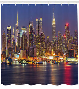 Image Is Loading NYC New York City Night Skyline Cityscape Shower