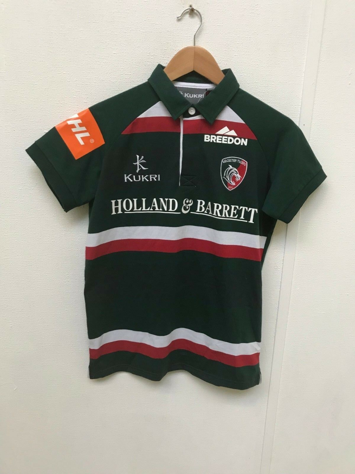 Leicester Tigers Kukri Rugby Women's Classic SS Shirt - Size 12 - Green - New