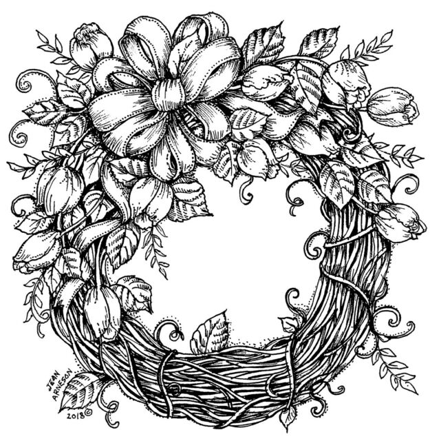 FLORAL WREATH-wood mounted rubber stamp MCRS 41-23