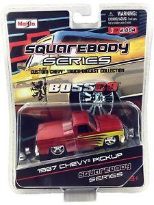 Maisto BossCo SQUAREBODY SERIES 1987 Chevy Silverado 87 Chevrolet Metallic Red