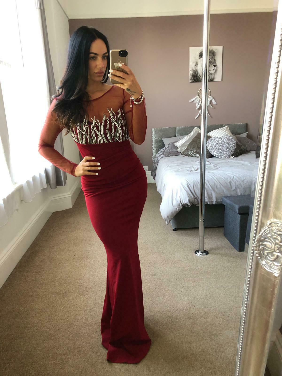 Quiz Berry Diamante Pearl Dress Ball Gown Long Fishtail Maxi Evening Prom UK