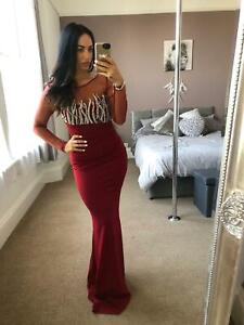 Quiz-Berry-Diamante-Pearl-Dress-Ball-Gown-Long-Fishtail-Maxi-Evening-Prom-UK