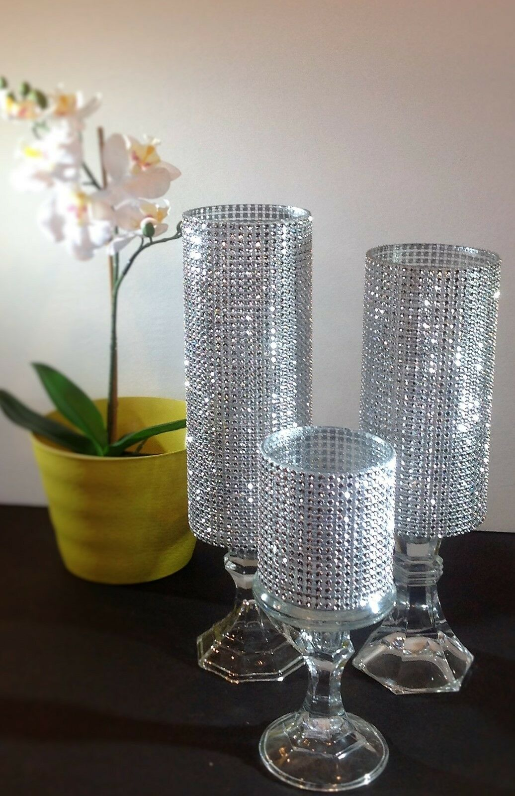 3 set candle holder glass wedding centerpieces light