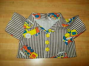 """DINOSAUR DINOSAURS SHIRT W// yellow BUTTONS for 16-17/"""" CPK Cabbage Patch Kids"""