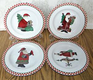Sakura-MAGIC-OF-SANTA-Set-of-4-Salad-Plates-Debbie-Mumm-Made-for-Target-Dayton