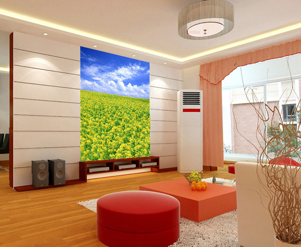 3D Sky Flower Field 8 Wallpaper Mural Paper Wall Print Wallpaper Murals UK Lemon