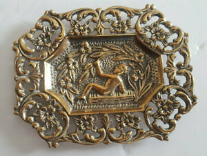 Antique German Small Repousse Cherub Flowers Pin Dish Tray Silver Plate