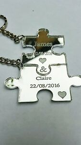 2-x-Personalised-Jigsaw-Puzzle-Piece-acrylic-mirror-Keyrings-Each-Engraved-with