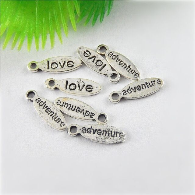 Vintage Silver Alloy Carved Words Plate Pendants Findings Charms Craft 13x 51159