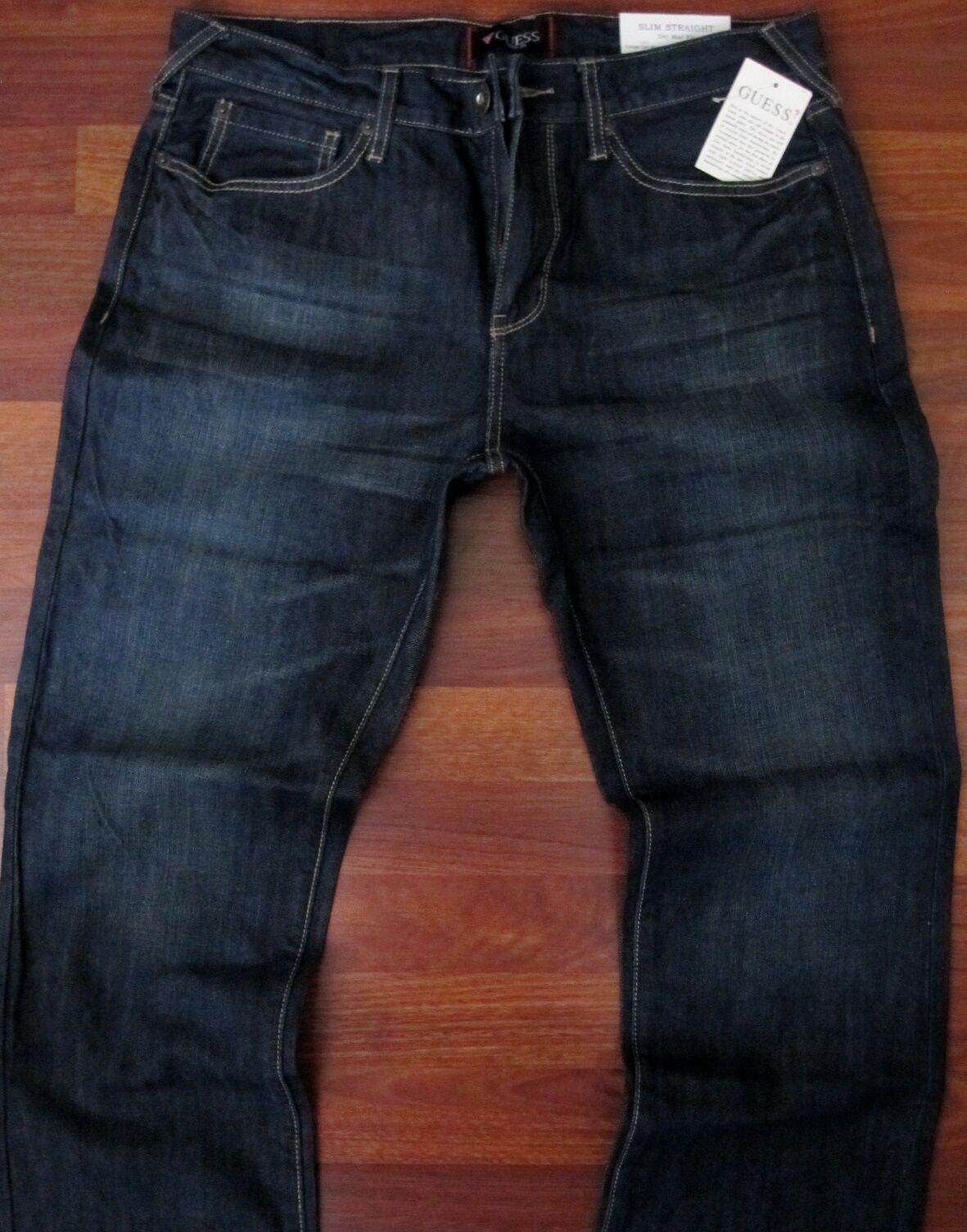 Guess Slim Straight Leg Jeans Men's Size 40 X 30 Sexy Dark distressed Wash NEW