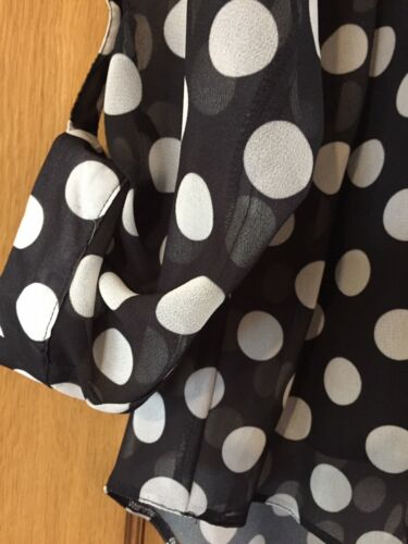 New Wallis Black and White Spotted Chiffon Blouse Top with Cami Size 8-18