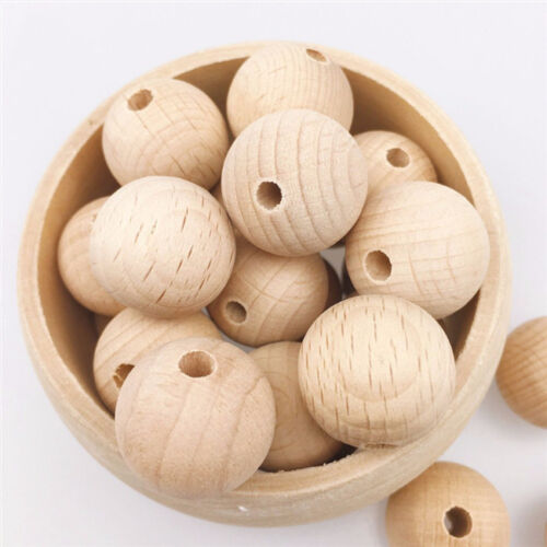 Round Rondelle Wooden Beads Jewellery Beading Wood Kids Boy Girls Toy S