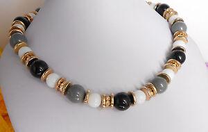 Halskette-Collier-Perlen-Weiss-Schwarz-Grau-STRASS-Glas-Acryl