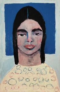 Expressive-Blue-Woman-Portrait-Painting-Gouache-Acrylic-Katie-Jeanne-Wood
