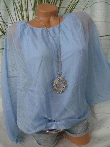 357 Sheego Chemisier Femmes Mousseline Tunique Shirt Taille 48 à 54 BLEU Lagen Look